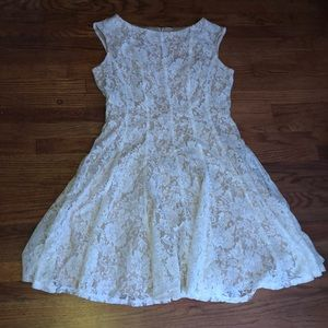 Creme Dress With White Lace
